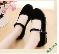 Old Beijing New Women's Ankle Strap Flats Black Work Flats Dance Pumps Shoes US