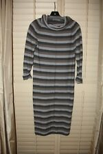 Humanoid Gray Multi-Color Striped Pointelle Cowl Neck Sweater Dress Small S