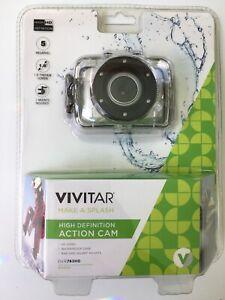 Vivitar 5mp HD Action Camera W/Waterproof Case Bike Helmet Mount DVR783HD Silver