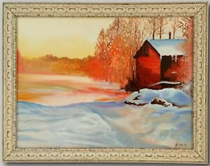 Cabin In The Snow - Original Oil Painting Framed & Signed Winter Art Landscape