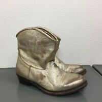 Women's ASH Gold Leather Distressed Western Cowboy Ankle Boots Booties Sz 37 = 7