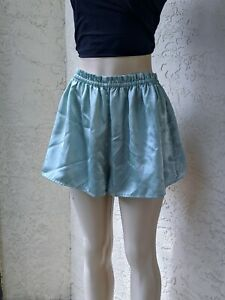VTG 80s Victorias Secret Sage Green Lounge Sleep Shorts Satin Gold Label Large