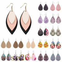 Women Boho Handmade Leather Earrings Jewelry Leaf Teardrop Dangle Eardrop