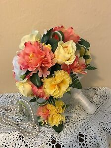 NEW WEDDING BOUQUET & MATCHING BOUTONNIERE YELLOW ROSES & CORAL PEONIES