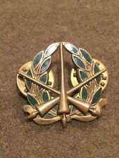Vintage Unknown US Military Cap Pin Brass and Enameled Army or Marines Myers NY