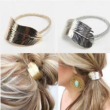2x Charm Gold&Silver Metal Leaf Elastic Hair Band Rope Headband Ponytail Holder