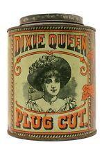 "Rare 1910s ""Dixie Queen"" litho knob top tobacco tin in good condition"