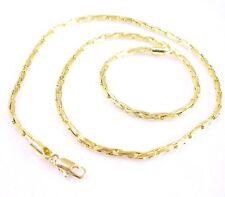 Sin Piedra 14K Baádo en Oro Amarillo Soga Serpiente Hueso Moderno Cadena 45cm