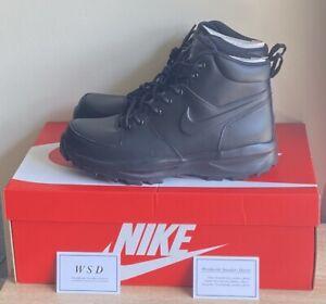 NIKE MANOA MENS LEATHER BLACK BOOTS, UK 8.5, 454350-003, BRAND NEW