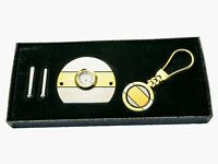 TWO TONE SILVER AND GOLD METAL FINISH MINI CLOCK WITH KEY CHAIN SET IN GIFT BOX