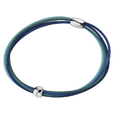 Collana Donna Hip Hop Cheer HJ0228 Acciaio Gomma Tonalità Blu Calamita Cristalli
