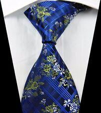 New Classic Checks Floral Blue Yellow JACQUARD WOVEN 100% Silk Men's Tie Necktie
