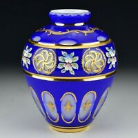 Bohemian Cobalt Cut Overlay Cased Glass Vase with Enamel & Applied Decoration
