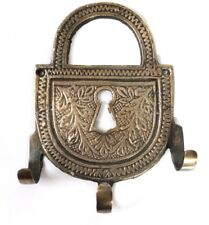 VINTAGE ANTIQUE STYLE WALL HOOK SOLID BRASS LOCK HANGER