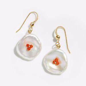 "Handmade!15-16MM White Keshi Pearl&Coral Earrings 14K Yellow Gold Filled,1.25"""