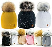 Women Ladies Winter Beanie Hat Warm Knitted With Small Crystals Large Pom Pom UK