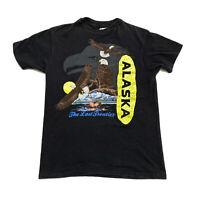 Vintage Single Stitch Alaska Tee Shirt, Mens Size Medium, Black, A33