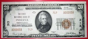 INDIANA, PA., FIRST NATIONAL BANK, $20 NATIONAL CURRENCY, SMALL SIZE,1929, SHARP