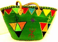 Handwoven & Leather Strap Shopping French Market Basket Bag Moroccan Green