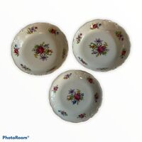 "3 Wawel china made in poland vintage 2 bowls 7.5"" & One 6.5"" & Saucer Goldrimmed"