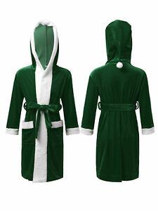 Girls Boys Christmas Sleepwear Long Sleeve Hoodie Bathrobe Christmas Party Wear