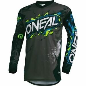 Black/Grey/Blue Sz M O'Neal Racing Element Villain Motocross Jersey