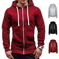 Men's Solid Color Zip Up Hoodies Classic Winter Hooded Sweatshirt Jacket Tops
