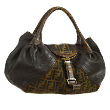 Auth FENDI Spy Bag Zucca Pattern Hand Bag Brown Canvas Leather Vintage BT12764
