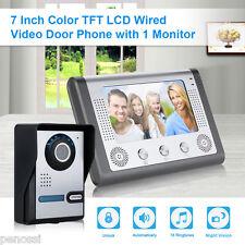 """7"""" LCD Monitor Haus Türsprechanlage Kamera Intercom Telefon Türklingel System EU"""