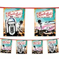 6m Plastic Bunting 1950's 50s Rock 'n Roll Banner Garland Party Decoration