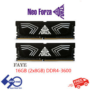Neo Forza Faye 16G (8GBx2) DDR4 3600 Desktop RAM Gaming PC Memory (Black)