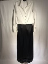 KAY UNGER Sz 14 Black 100% Silk Satin Maxi Skirt