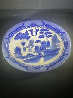 "Vintage Japan Blue Willow serving Bowl dish Oval in shape 10""L x 8""W x 21/2""D"
