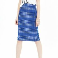 Banana Republic Blue Square Jacquard Pencil Skirt Sz 10P Professional Career