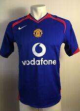 Manchester United 2005 2006 Away Football Shirt SMALL mans vodafone blue nike