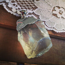 Raw Cut Natural Citrine Lemon Quartz Chunck Pendant with SILVER Plating Gemstone