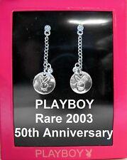 RARE 2003 50TH ANNIVERSARY Playboy Earrings Stud Silver Swarovski Crystal Dangle