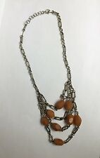 Art Deco Style Sterling Orange Calcite 4-tier Chandelier Necklace signed MRF