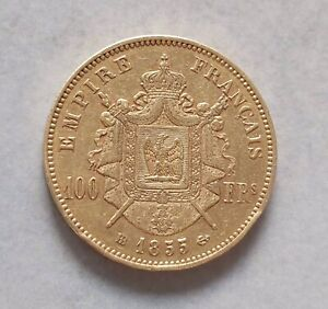 100 Francs Or 1855 Strasbourg RARE Gold Coin