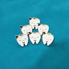 Tooth Fairy 18K Gold Molar Cartoon Pins Brooch Enamel Collar Dress Fashion