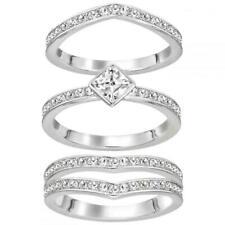 Swarovski 5221379 Alpha Three Ring Set Crystal Rhodium Size 58 Silver