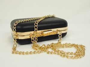 A New Day Faux Leather Black Mini Crossbody Envelope Rose Gold Chain Bag Purse