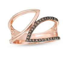Champagne Diamond Double Leaf Outline Wrap Ring 10K Rose Gold