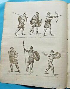 Ancienne Estampe Gravure 1784. 6 Soldat Romain :Archer Frondeur ; Hastat ;Vélite