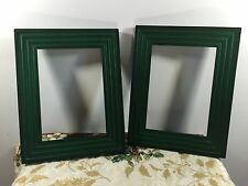 Set of Two Matching Vintage Photo Frames Rustic Green Carved Wood