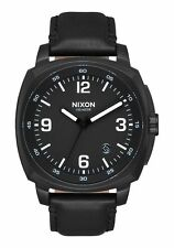 **BRAND NEW** NIXON WATCH THE CHARGER LEATHER ALL BLACK A1077001 NEW IN BOX!