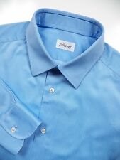 BRIONI MENS 17 XL 36 LUXURY DRESS SHIRT LUSTROUS SILKY SKY BLUE MADE IN ITALY