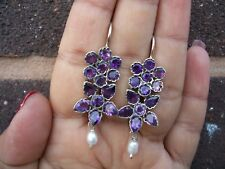 Vintage Inspired 925 Sterling Silver Natural Amethyst and Pearl Earrings