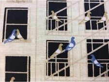 RPFPB04K Old Style New York City Fire Escape Pigeon Bird Cotton Quilt Fabric