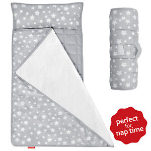 Toddler Nap Mat with Removable Pillow and Fleece Minky Blanket for Preschool